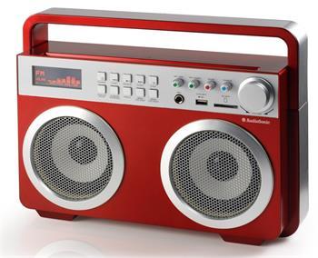 TOPCOM AudioSonic RD-1558 Soundblaster, 2 x 15 Watt BT reproduktory, FM rádio, USB, SD slot, červené; RD-1558