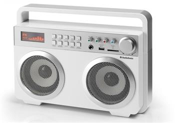 TOPCOM AudioSonic RD-1559 Soundblaster, 2 x 15 Watt BT reproduktory, FM rádio, USB, SD slot, bílé; RD-1559