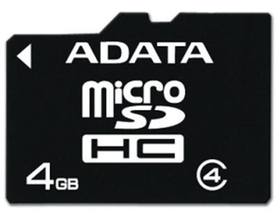 ADATA micro SDHC 4GB Class 4; AUSDH4GCL4-R