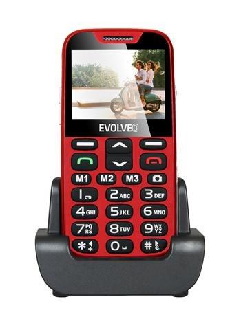 EVOLVEO EasyPhone XD, mobilní telefon pro seniory s nabíjecím stojánkem, červený; EP-600-XDR