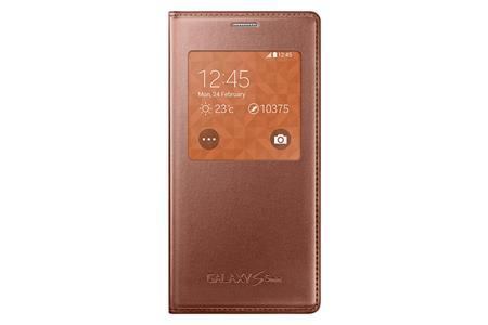 Samsung flip. pouzdro S-view pro S5 mini Gold/Pink; EF-CG800BFEGWW