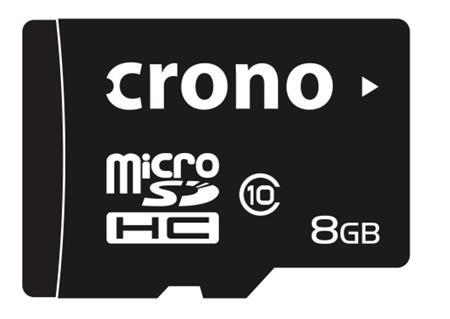 Crono micro Secure Digital HC (microSDHC) karta 8GB Class 10 + adaptér; CRC/8GBA10