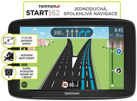 TomTom START 62 Europe (45 zemí) LIFETIME mapy; 1AA6.002.01