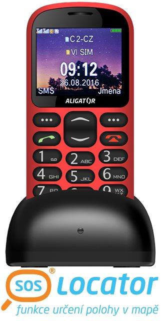 ALIGATOR A880 GPS Senior červený + stolní nabíječka; A880RD