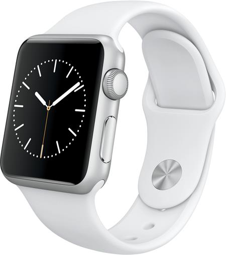Apple Watch Series 1, 38mm Silver Aluminium Case with White Sport Band; MNNG2CN/A