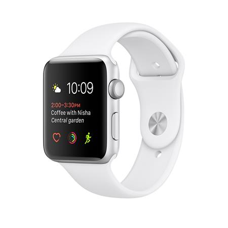 Apple Watch Series 1, 42mm Silver Aluminium Case with White Sport Band; MNNL2CN/A