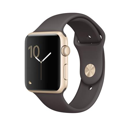 Apple Watch Series 1, 42mm Gold Aluminium Case with Cocoa Sport Band; MNNN2CN/A