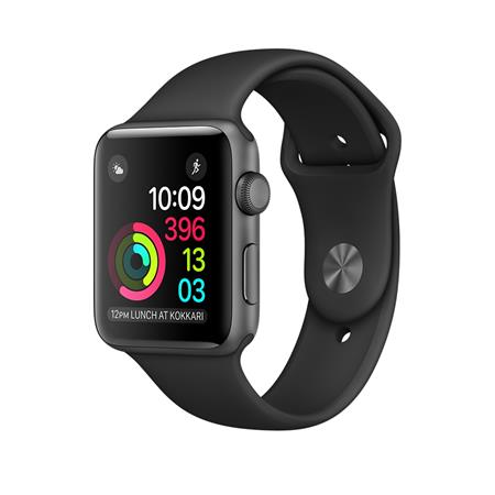 Apple Watch Series 1, 42mm Space Grey Aluminium Case with Black Sport Band; MP032CN/A