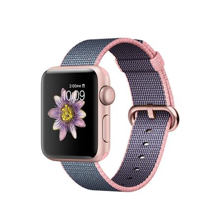 Apple Watch Series 2, 38mm Rose Gold Aluminium Case with Light Pink/Midnight Blue Woven Nylon Band