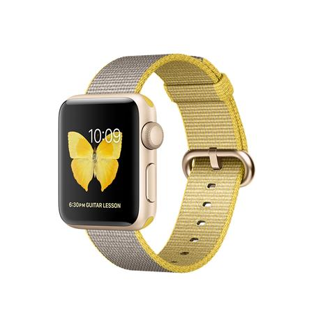 Apple Watch Series 2, 38mm Gold Aluminium Case with Yellow/Light Grey Woven Nylon Band
