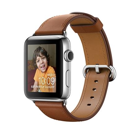 Apple Watch Series 2, 38mm Stainless Steel Case with Saddle Brown Classic Buckle