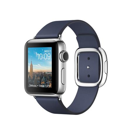 Apple Watch Series 2, 38mm Stainless Steel Case with Midnight Blue Modern Buckle - Medium