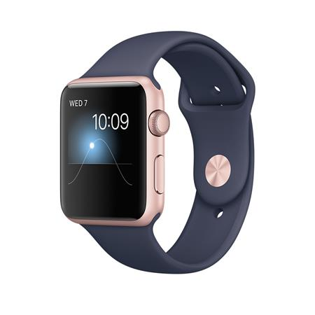Apple Watch Series 2, 42mm Rose Gold Aluminium Case with Midnight Blue Sport Band