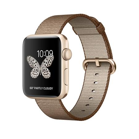 Apple Watch Series 2, 42mm Gold Aluminium Case with Toasted Coffee/Caramel Woven Nylon Band