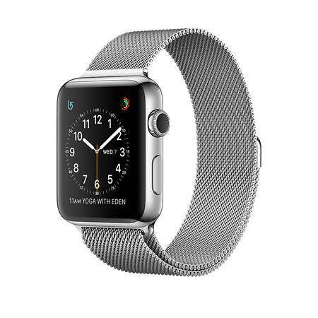 Apple Watch Series 2, 42mm Stainless Steel Case with Silver Milanese Loop; MNPU2CN/A