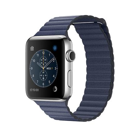 Apple Watch Series 2, 42mm Stainless Steel Case with Midnight Blue Leather Loop - Medium