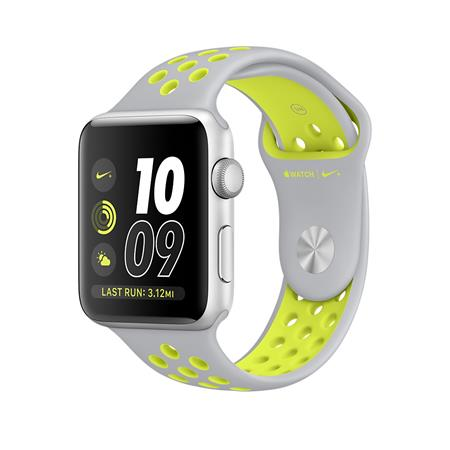 Apple Watch Nike+, 38mm Silver Aluminium Case with Flat Silver/Volt Nike Sport Band; MNYP2CN/A