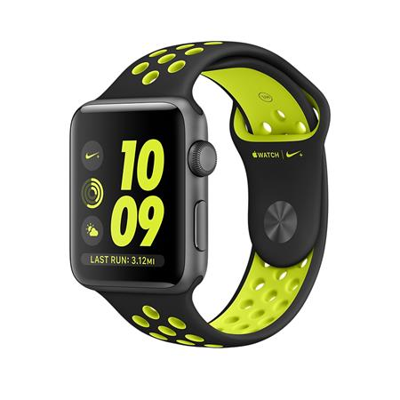 Apple Watch Nike+, 38mm Space Grey Aluminium Case with Black/Volt Nike Sport Band