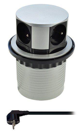 Solight prodlužovací přívod, 4 zásuvky, stříbrný, 1,5m, výsuvný blok zásuvek,