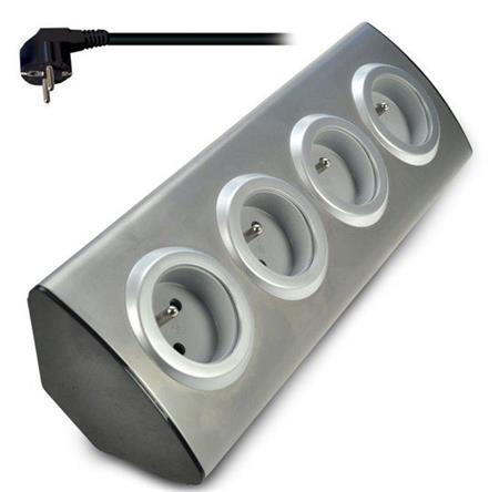 Solight prodlužovací přívod, 4 zásuvky, stříbrný, 1,5m, rohový design; PP103 - Solight prodlužovací přívod, 4 zásuvky, stříbrný, 1,5m, rohový design PP103