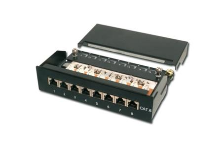 Digitus Patch Panel desktop, CAT6, stíněný, 8x 8P8C LSA, černý,1U; DN-91608SD