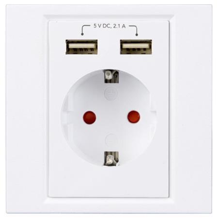 Cablexpert 230V zásuvka na zeď, 2x USB 2.1A; MWS-ACFUSB2-01