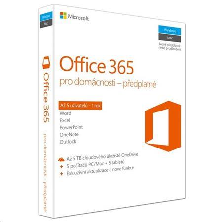 Office 365 pro domácnosti 32-bit / x64 CZ - předplatné na 1 rok; 6GQ-00721