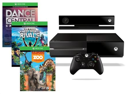 Microsoft XBOX ONE 500GB Kinect senzor + 3 x hra (Dance Central Spotlight + Kinect Sports Rivals + Zoo Tycoon)