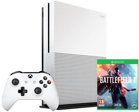 Microsoft XBOX ONE S 500 GB + 1 x hra (Battlefield 1) + 1 měsíc EA Access; ZQ9-00038