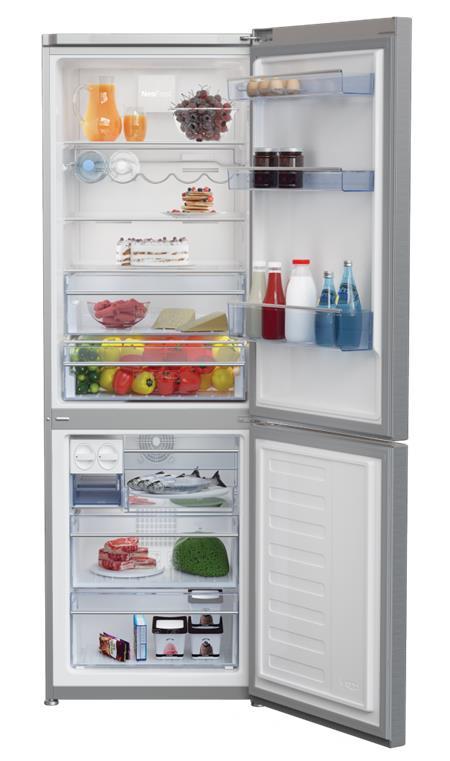 BEKO CNA 365 EE0ZX - kombinovaná chladnička, objem chladící/mrazící části 219/99l, hlučnost 43dB, A+++, nerezová; CNA 365EE0ZX