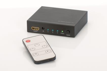 Digitus 4K HDMI přepínač 3x1,, Podporuje 4K2K, 3D video formáty, vč dálkového ovládání, černý; DS-48304