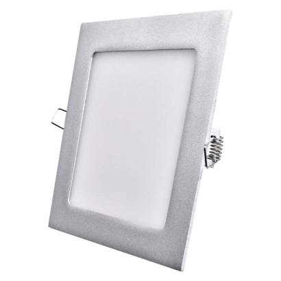 LED vestavné svítidlo, čtverec stříbrná 12 W neutrální bílá