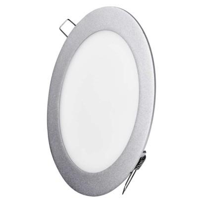LED vestavné svítidlo, kruh stříbrná 12 W neutrální bílá