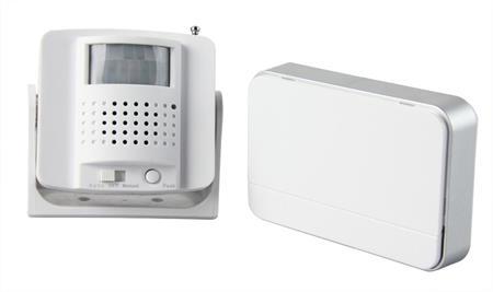 Solight Bezdrátový hlásič pohybu/gong, externí PIR čidlo, napájení bateriemi, bílý; 1D05