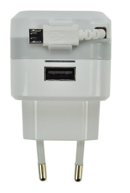 Solight USB nabíjecí adaptér, navíjecí kabel micro USB + 1x USB, 2400mA max., AC 230V, bílošedý; DC39