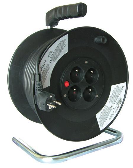 Solight 4z prodlužovací přívod - na bubnu, 50m, černý kabel; PB02