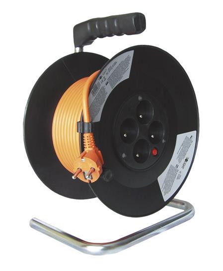 Solight 4z prodlužovací přívod - na bubnu, 20m, oranžový kabel; PB09