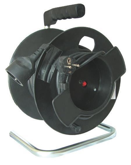 Solight 1z prodlužovací přívod - na bubnu, 25m, černý kabel; PB11