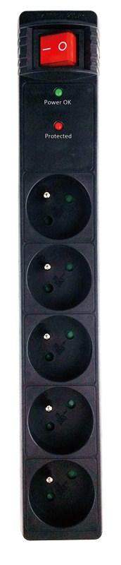 Solight Přepěťová ochrana, 5z, 1,5m, černá; PO50B