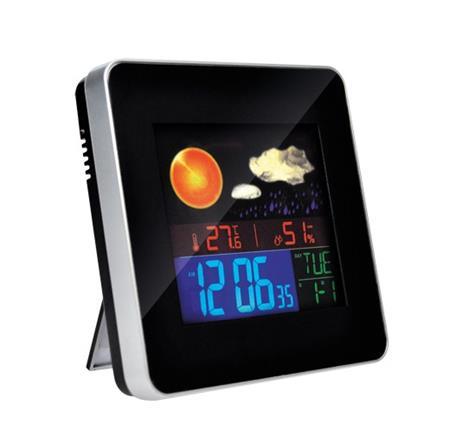 Solight Meteostanice, teplota, vlhkost, budík, LCD displej, stříbrný rámeček; TE74