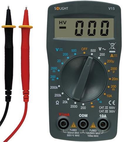 Solight Multimetr, max. AC 500V, max. DC 500V / 10A, test diody, bzučák; V15
