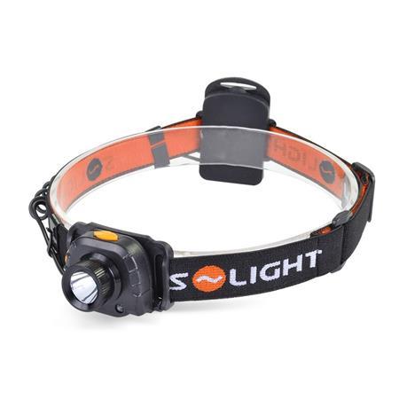 Solight Čelová LED svítilna se senzorem, 3W Cree, černá, 3 x AAA; WH20