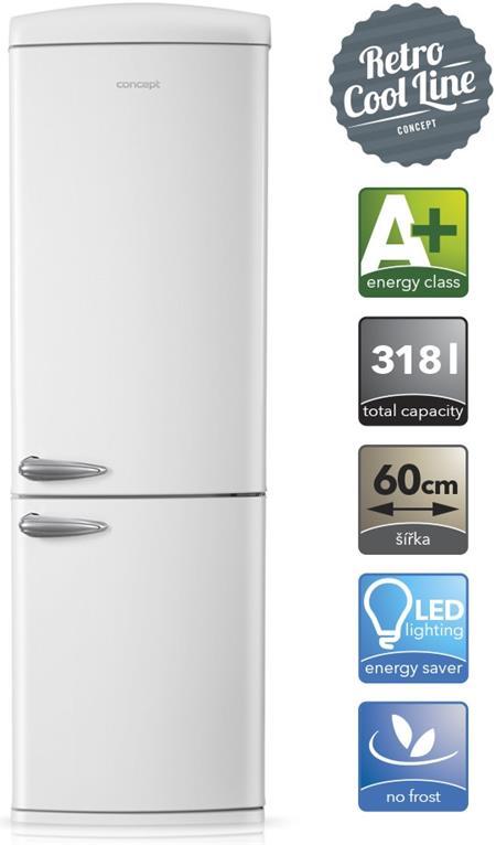 CONCEPT LKR 7360wh - kombinovaná Retro chladnička A+, 318l ; lkr7360wh