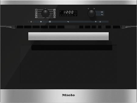 MIELE H 6200 BM nerez/clst- kompaktní pečicí trouba vestavná s mikrovlnou; 22620054E
