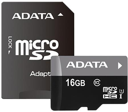 ADATA Micro SDHC Premier 16GB UHS-I + SD adaptér; AUSDH16GUICL10 85-RA1