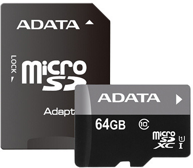 ADATA Micro SDXC Premier 64GB UHS-I + SD adaptér; AUSDX64GUICL10 85-RA1