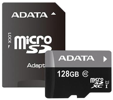 ADATA Micro SDXC Premier 128GB UHS-I + SD adaptér; AUSDX128GUICL10 85-RA1
