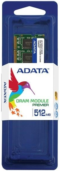 ADATA DDR 512MB SODIMM 400MHz CL3; AD1S400A512M3-R