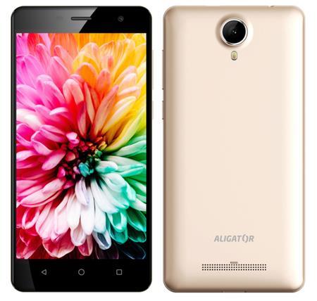 """Aligátor S5062 - Smartphone, IPS 5"""" FWVGA, SC7731C QC 1.2 GHz, RAM 1GB, 8GB, Dual SIM, zlatá metalíza; AS5062GD"""