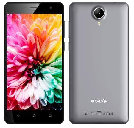 "Aligátor S5062 - Smartphone, IPS 5"" FWVGA, SC7731C QC 1.2 GHz, RAM 1GB, 8GB, Dual SIM, šedá metalíza; AS5062GY"